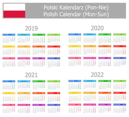 2019-2022 Polish Type-1 Calendar Mon-Sun on white background
