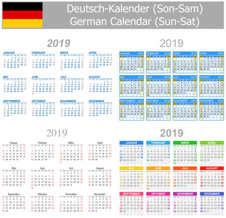 2019 German Mix Calendar Sun-Sat on white background