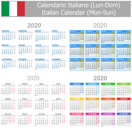 2020 Italian Mix Calendar Mon-Sun on white background