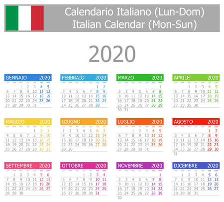 2020 Italian Type-1 Calendar Mon-Sun on white background