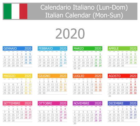 2020 Italian Type-1 Calendar Mon-Sun on white background