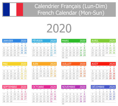 2020 French Type-1 Calendar Mon-Sun on white background Çizim