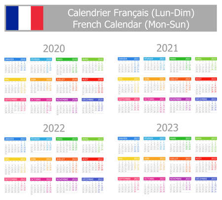 2020-2023 French Type-1 Calendar Mon-Sun on white background 向量圖像