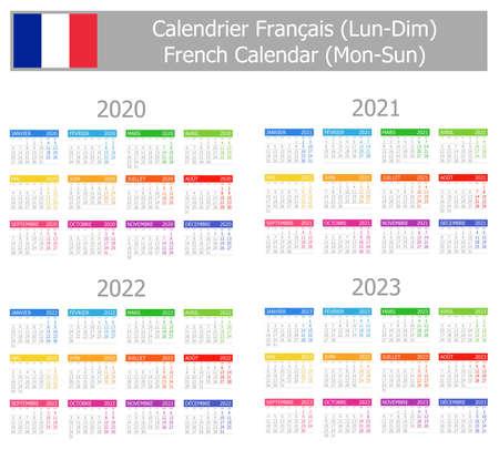 Calendario francese di tipo 1 2020-2023 lun-dom su sfondo bianco