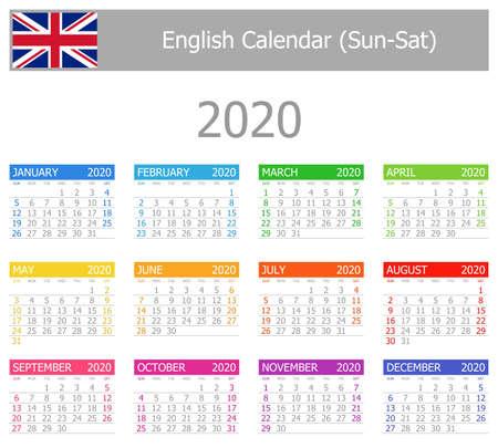 2020 English Type-1 Calendar Sun-Sat on white background
