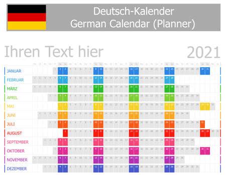 2021 German Planner Calendar with Horizontal Months on white background