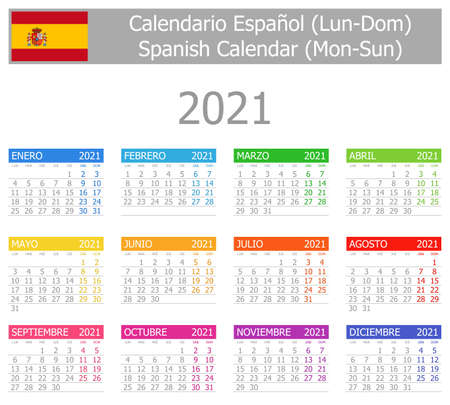 2021 Spanish Type-1 Calendar Mon-Sun on white background