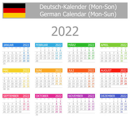 2022 German Type-1 Calendar Mon-Sun on white background
