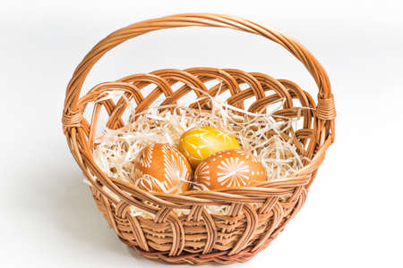 eastertime: Hand painted easter eggs on white Stock Photo