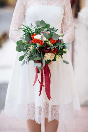 pion: Wedding bouquet of eustoma , freesia, peony and willow branches Stock Photo