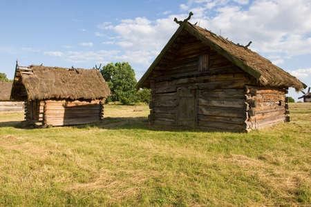 pirogovo: Authentic Ukrainian village house.A typical ukrainian antique house, in Pirogovo near Kiev Stock Photo