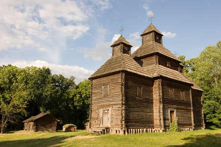 pirogovo: Wooden church in the park, Kiev, Ukraine Pirogovo Stock Photo