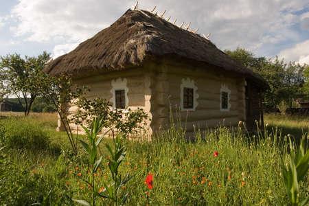 Authentic Ukrainian village house.A typical ukrainian antique house, in Pirogovo near Kiev Stock Photo