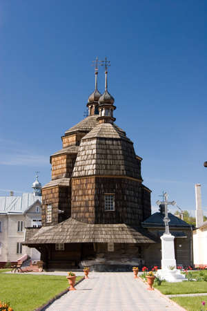 The wooden three-branched church of the Ascension 1717, Chortkiv, Ternopil region, Ukraine