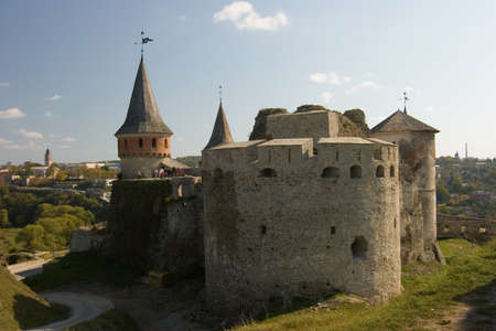Summer view to castle in Kamianets-Podilskyi, Ukraine Editorial