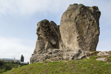 Devils rock in Pidkamin, Lviv region, West Ukraine (summer landscape)