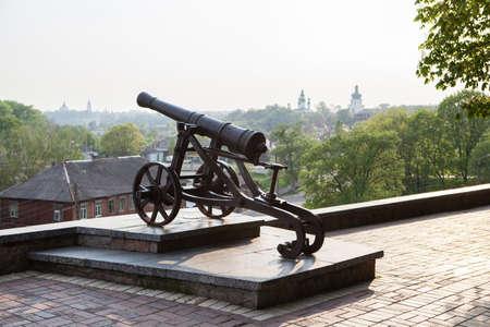 Old cast-iron cannon in Chernihiv, Ukraine