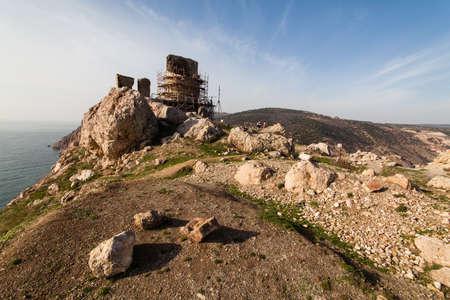 Ruins of Genoese Cembalo fortress. Balaklava, Crimea.