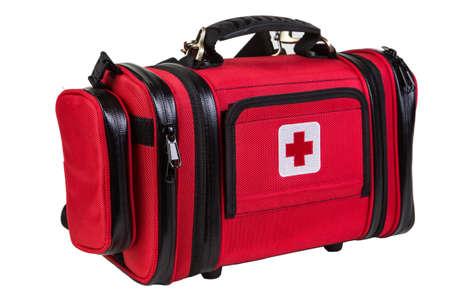 Nowoczesny przenośny lekarz czerwona torba na białym tle Zdjęcie Seryjne