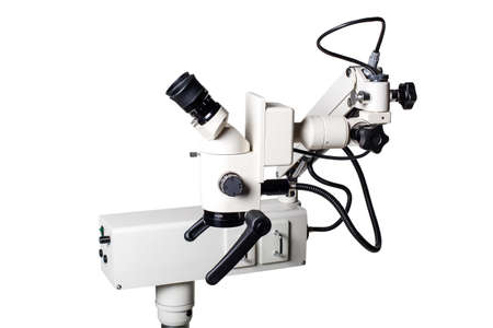 Modern medical equipment - jphthalmology operation surgical microscope isolated on white