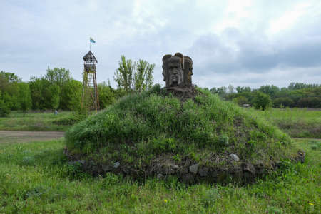 View to island and Zaporizhian Cossacks Museum on the island of Khortytsia, Zaporozhian Sich