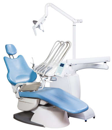 Modern medical special equipment - blue dentist chair isolated on white background