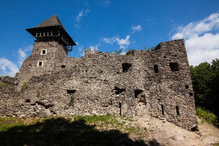 Ruins of Castle Nevytske in Transcarpathian region. Main keep tower (donjon, Ukraine