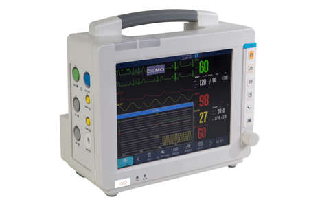 Attrezzature mediche speciali - monitoraggio elettrocardiografico del paziente - dispositivo medico isolato su bianco Archivio Fotografico