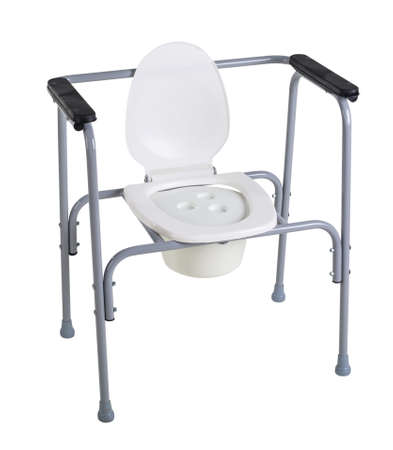 Toilet chair for rehabilitation in postoperative period, the elderly, as well as patients who have disorders of the musculoskeletal system isolated on white