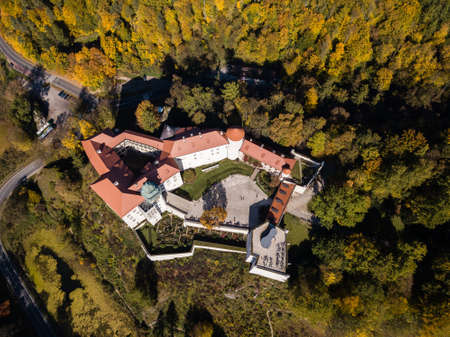Medieval castle Pieskowa Skala near Krakow in Poland. Aerial spectacular view in beautiful autumn Stock Photo