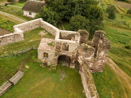 Aerial view to abandoned castle in Pidzamochok near Buchach, Ternopil region, Ukraine, founded near 1600 by Jan Zbozny Editöryel