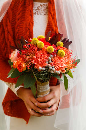 A burgundy autumn wedding bouquet in the hands of the bride Stock Photo