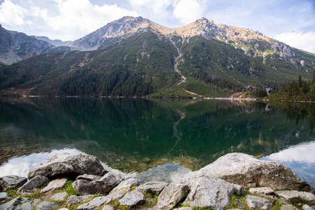Famous polish landscape - mountain lake Morskie Oko, Tatra Mountains, Poland