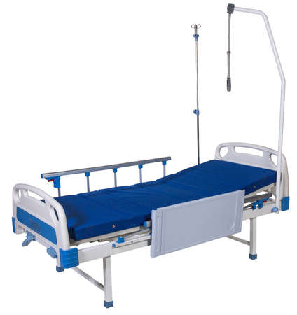 Modern mobile transforming medical bed isolated on white background