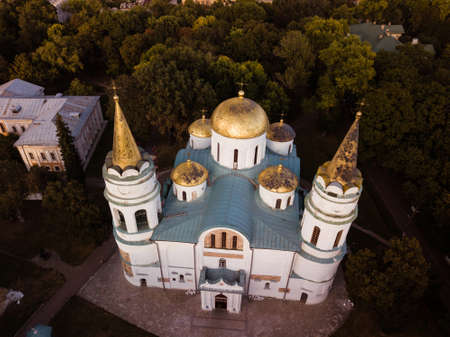 Aerial view to Savior Transfiguration Cathedral of Chernihiv 1030s the oldest church in Ukraine