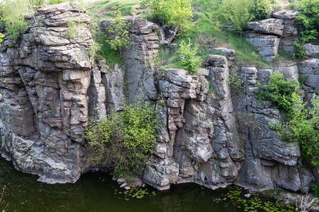 Terrific view of the Buky Canyon on sunny day. Buki Canyon on the Hirskyi Tikich river, Cherkassy region, Ukraine