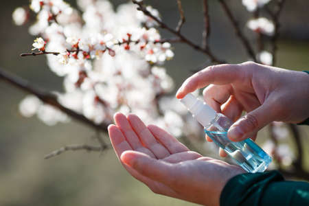 Hand sanitizer antibacterial antiseptic gel at hands on nature park background with blooming tree. Coronavirus Disease Covid-19 prevention and health protection during flu virus outbreak concept