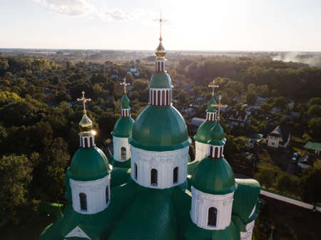 Aerail view to Cathedral Nativity Blessed Virgin in Kozelets, Chernihiv region, Ukraine. An important architectural monument in style of Ukrainian and Elizabethan baroque built in 1752-1763 years