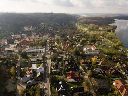 Aerial view to old town of Kazimierz Dolny at Vistula river - art center of Poland with many paint galleries