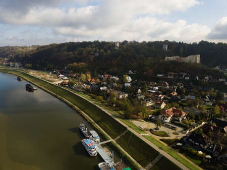 Aerial view to old town of Kazimierz Dolny at Vistula river and ruins of the medieval royal castle at the hill, Poland Reklamní fotografie