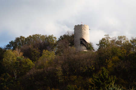 Ruins of the medieval royal castle in Kazimierz Dolny on Vistula River, Poland Stock Photo