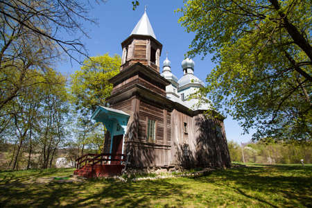 Old wooden church Nativity of the Blessed Virgin Mary in the village Tulintsy, Ukraine, 17th century build at cossack baroque style