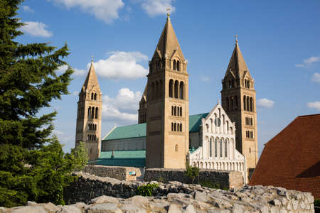 St Peter and St Paul Basilica in Pecs city, Hungary, Europe .Pecs is the fifth largest city of Hungary, administrative centre of Baranya