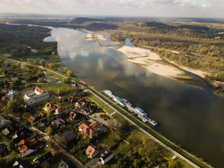 Aerial panorama view of Vistula river and Kaziemierz Dolny old town in Poland Reklamní fotografie