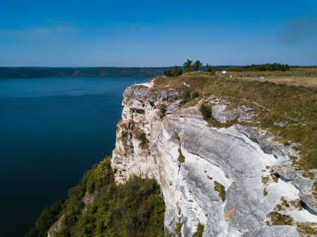 Aerial view to Bakota Cave Monastery in Podilski tovtry National park, Khmelnitskiy region of Western Ukraine Banque d'images