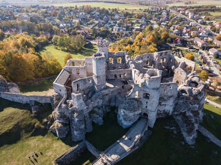 Aerial view ruins of medieval castle on the rock in Ogrodzieniec, Poland. One of strongholds called Eagles Nests in Polish Jurassic Highland in Silesia.