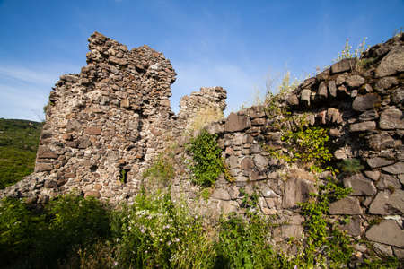 The ruins of castle on Black Mountain in Vinogradovo, Ukraine. First mention in Anonymous Chronicles in 903
