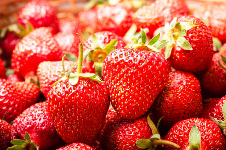 Closeup of many fresh strawberries in basket Banque d'images