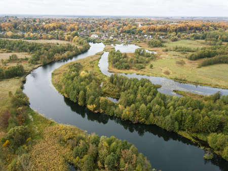 Aerial view of river Snov in autumn near village of Sednev, Chernihiv region, Ukraine. Banque d'images