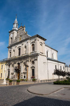 View to Church of the Assumption of Blessed Virgin Mary in historical center of city Zolochiv, Lviv region, Ukraine Stock fotó